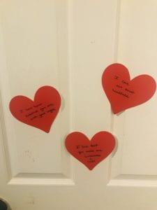 Valentine's Day activities, hearts on the door