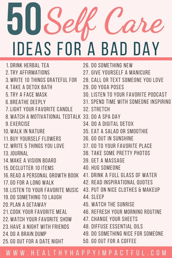 self care ideas for a bad day pin
