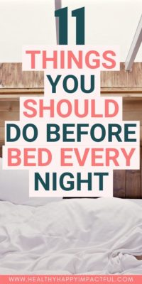 pin of things to do at night before bed