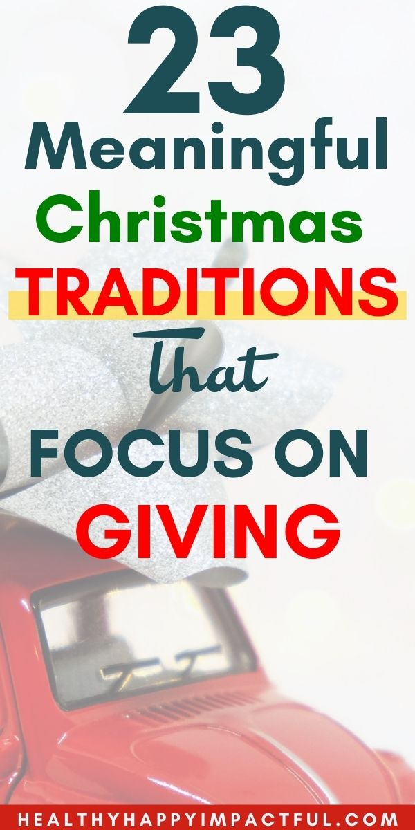 pin of meaningful Christmas that focuses on giving