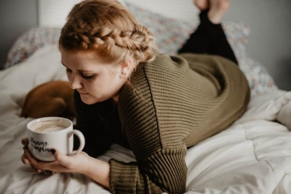 Create a soothing self care routine, woman with coffee
