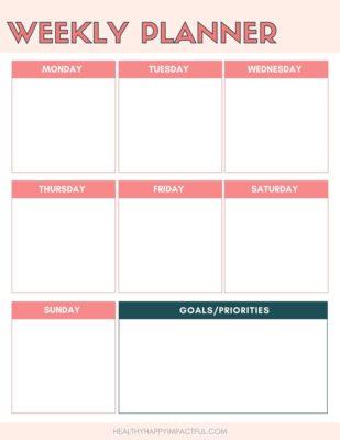 cute weekly planner printable template 2020