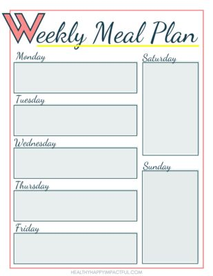 free printable weekly meal planner pdf