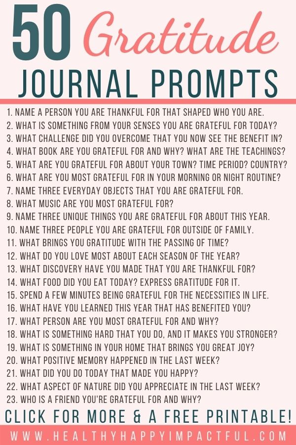 50 gratitude journal prompts infograph
