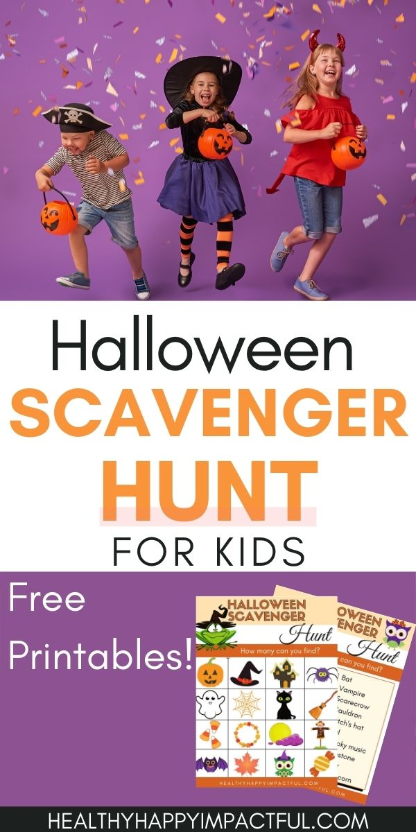 Halloween scavenger hunt for kids pin