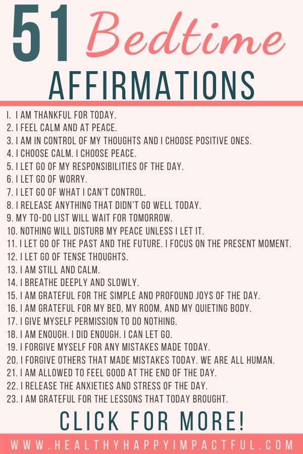 bedtime sleep affirmations pin