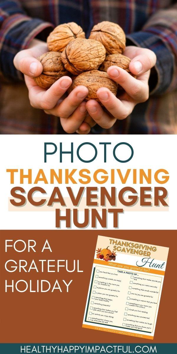 Photo Thanksgiving Scavenger hunt for kids pin