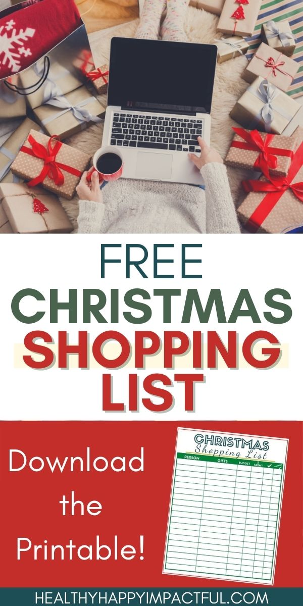 free Christmas shopping list pin