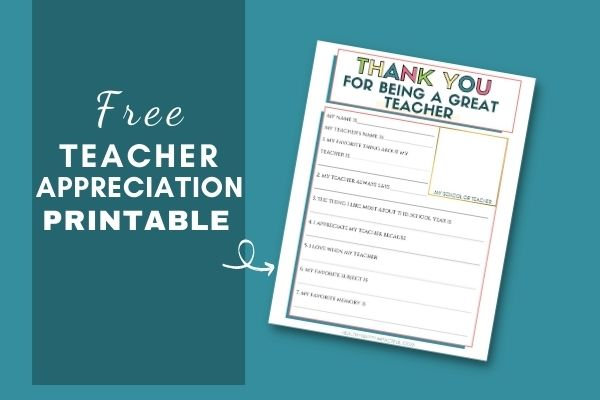 Thank You for Being a Great Teacher Appreciation Printable