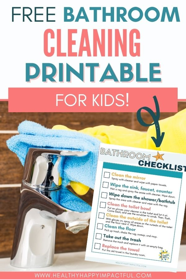free deep clean bathroom cleaning printable for kids pin