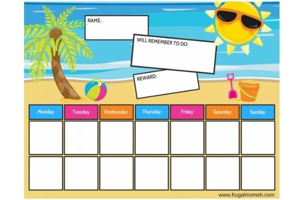 reward chart ideas for younger kids: on the beach