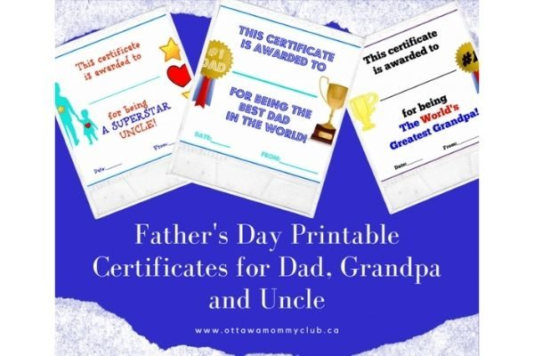 Father's Day printable certificates for dad