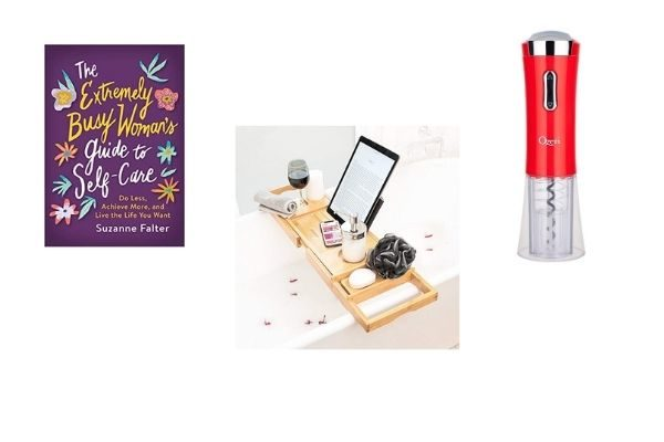 best gifts for the busy mom who has everything: book, electric wine opener, bath tray