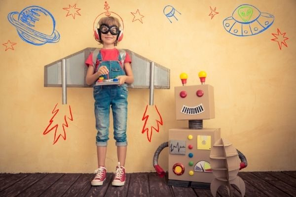 girl and robot, tips on morning affirmations for kids