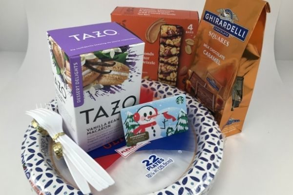 In the new mom kit: tea, gift card, chocolate, paper plates, and more on Amazon