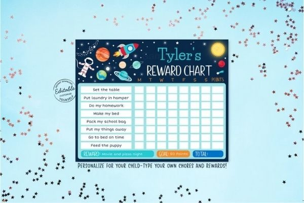 EDITABLE Space Reward Chart Outer Space Rocket Ship Astronaut image 0