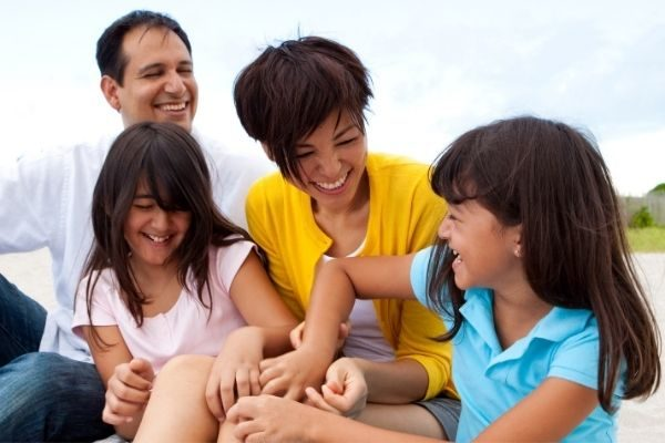 Funny family laughing