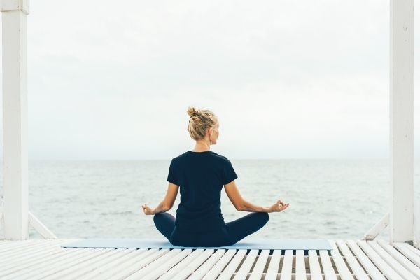 mental health self care quotes, woman doing yoga