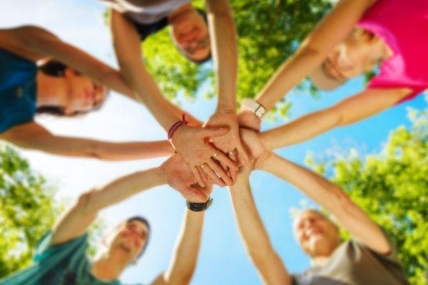 family bonding activities group of hands