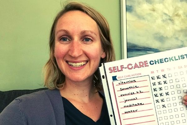 weekly self care checklist template